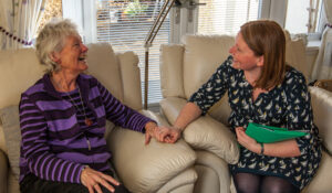 Client laughing Eidyn Care