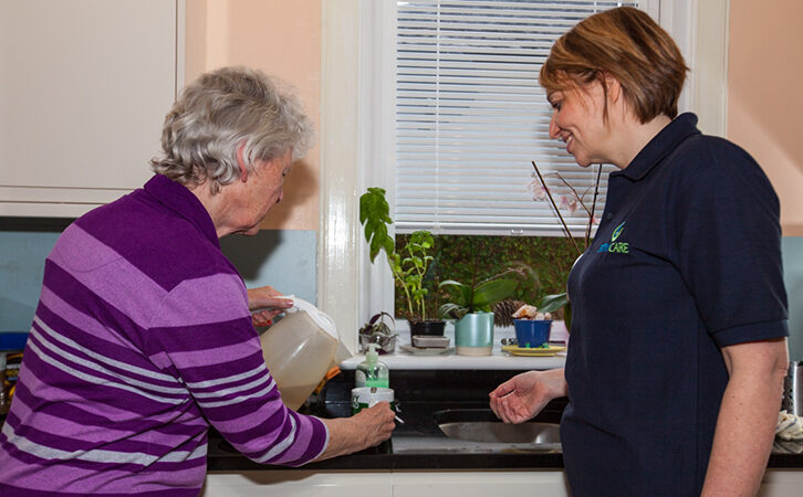 Filling up the kettle with carer