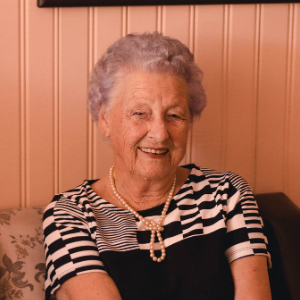 Happy and smiling elderly lady