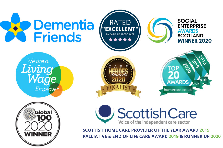 Awards Banner 2020 dementia friends Scottish care top 100